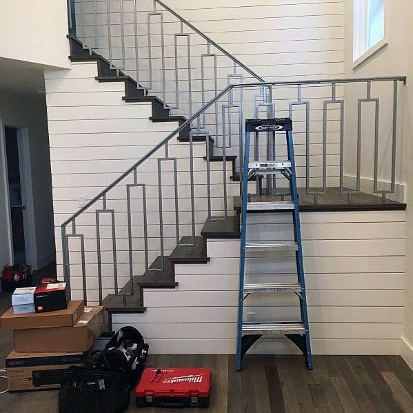 Shiplap Walls Metal Railing Staircase Ideas