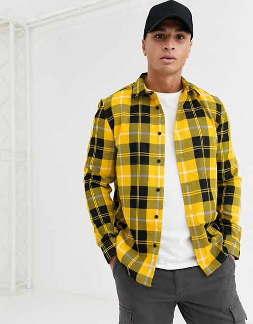 shirt in bright yellow check