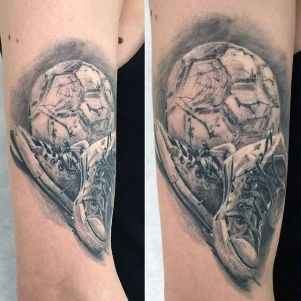 Shoes With Soccerball Mens Realistic Arm Tattoo Ideas