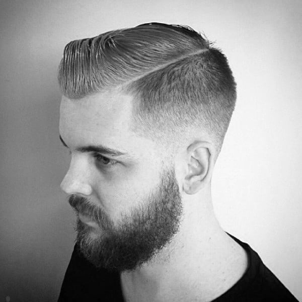 Short Length Mens Comb Over Taper Fade Haircut