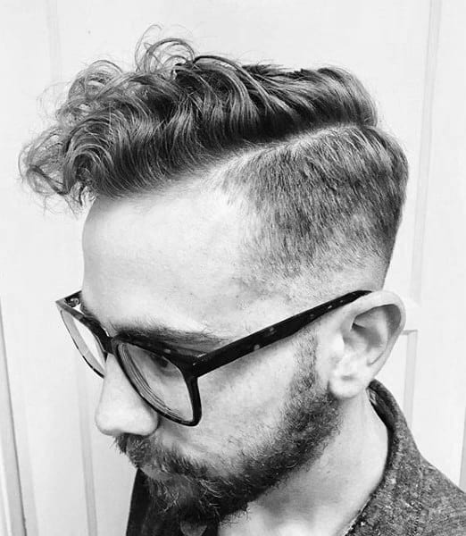 Short Length Mens Curly Fade Comb Over Haircut Taper