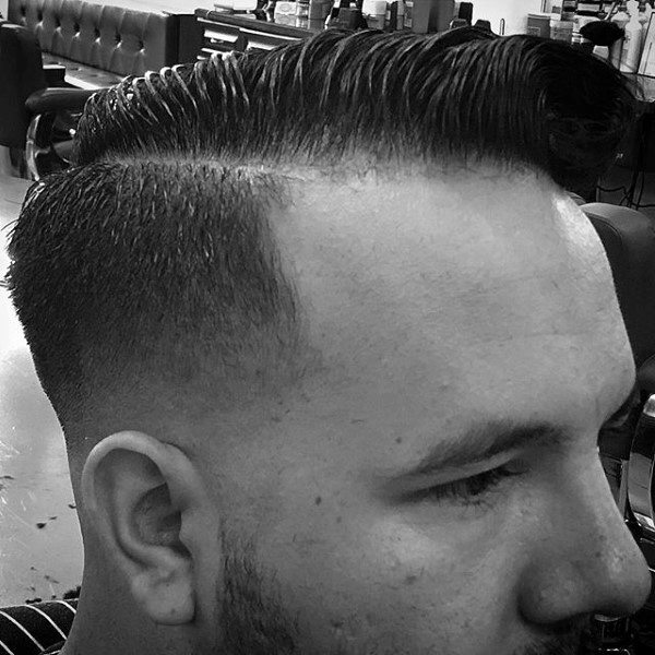 Short Length Mens Hairstyle Comb Over With Fade