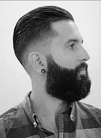 Short Length Slicked Back Hair For Guys With Skin Fade