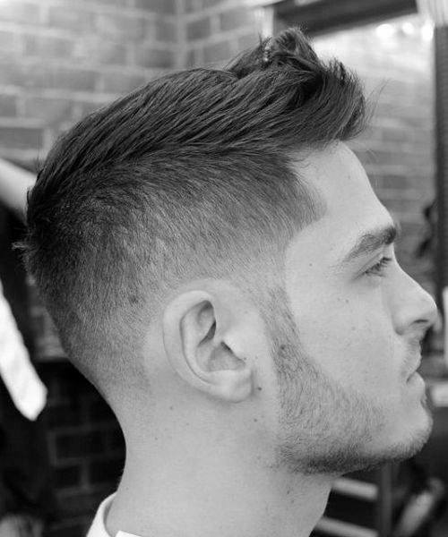 Short Male Haircut Fohawk With Fade On Sides