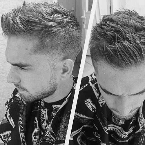 Short Mens Buzzed Sides Faux Hawk Haircut