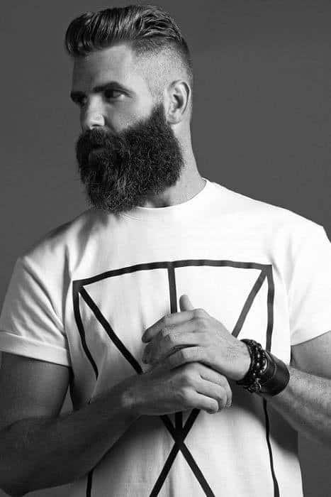 Short Pompadour High Fade Mens Hair With Beard