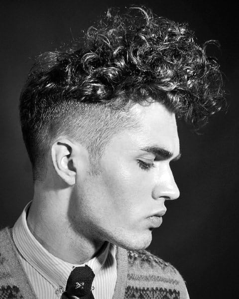 Short Sides Mens Long Curly Hair On Top