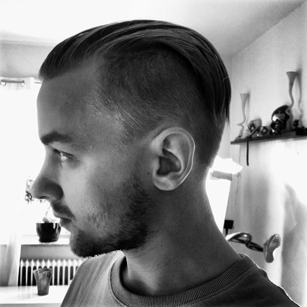 Short Slicked Back Undercut For Men With Thin Straight Hair
