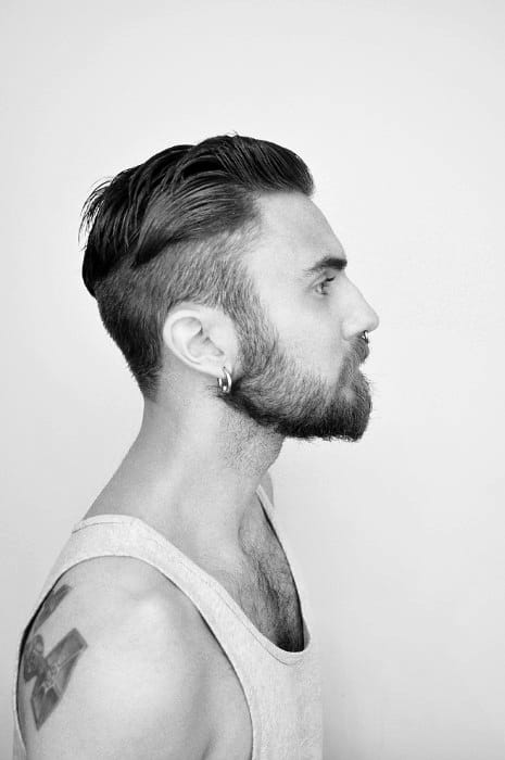 Short To Medium Undercut Haircut For Males With Beards