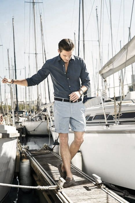 Shorts With Navy Dress Shirt Mens Style Ideas How To Wear Boat Shoes Outfits