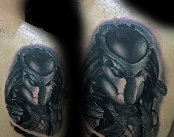 Shoulder 3d Male Predator Shaded Tattoo Ideas
