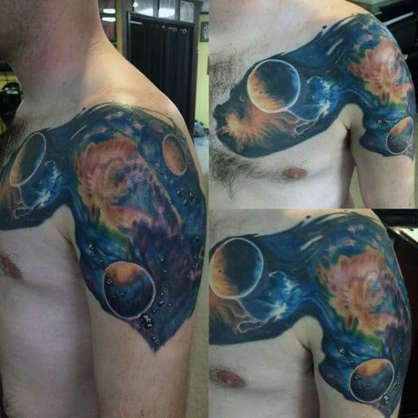 Shoulder And Arm 3d Nebula Guys Tattoo Designs