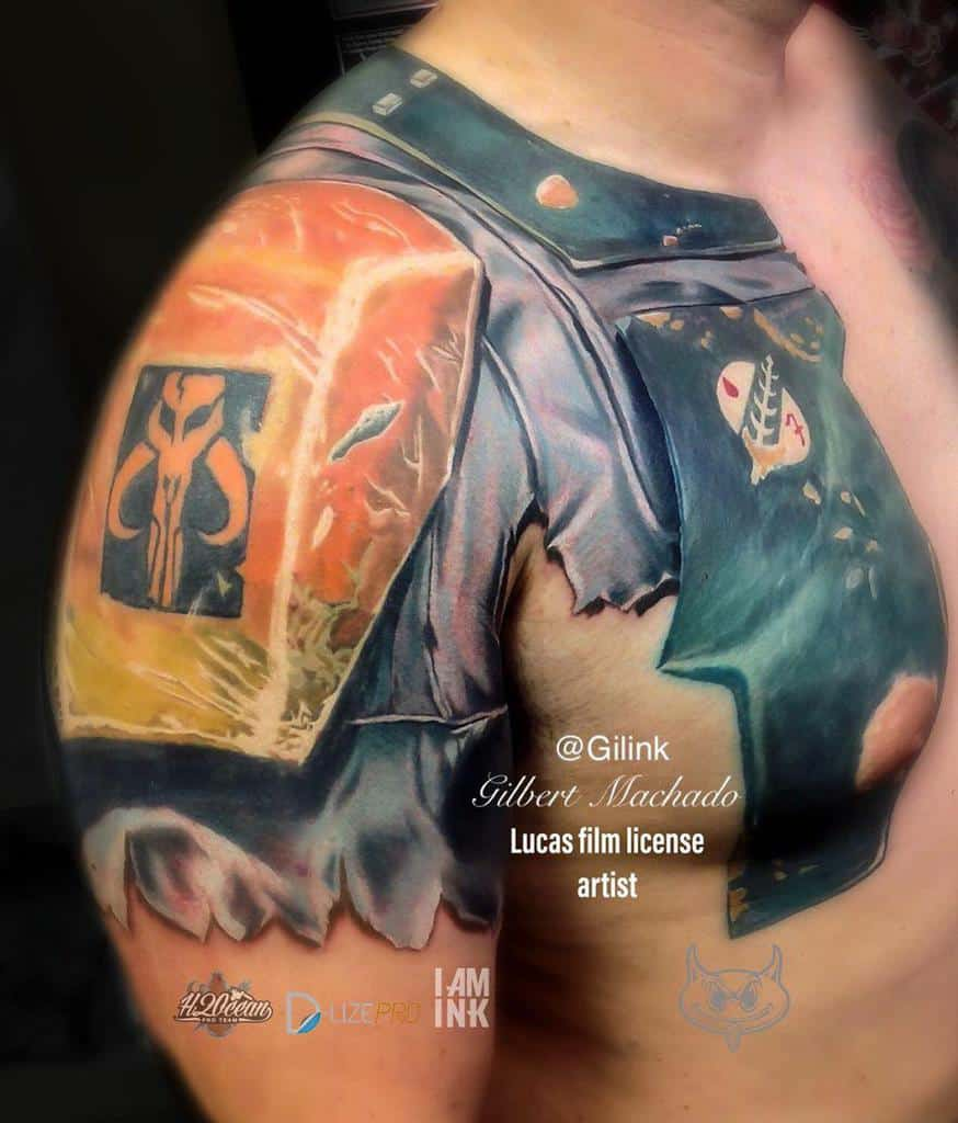 Shoulder And Arm Armor Star Wars Guys Mandalorian Tattoo Designs