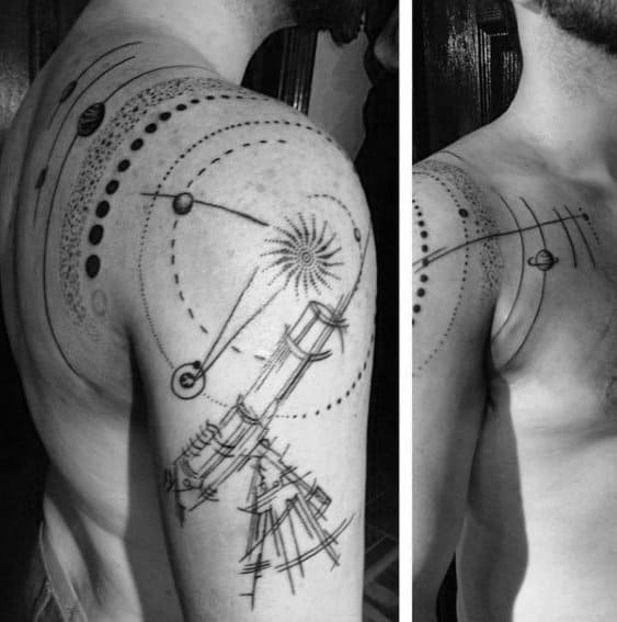 Shoulder And Arm Mens Tattoo With Telescope Design