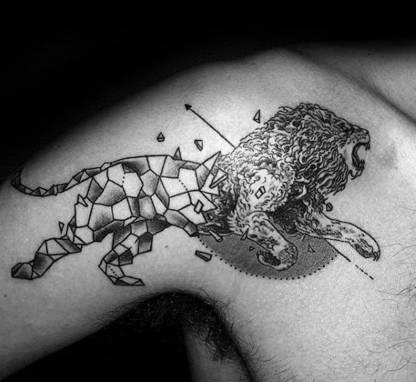 Shoulder And Arm Running Geometric Lion Mens Tattoo Designs