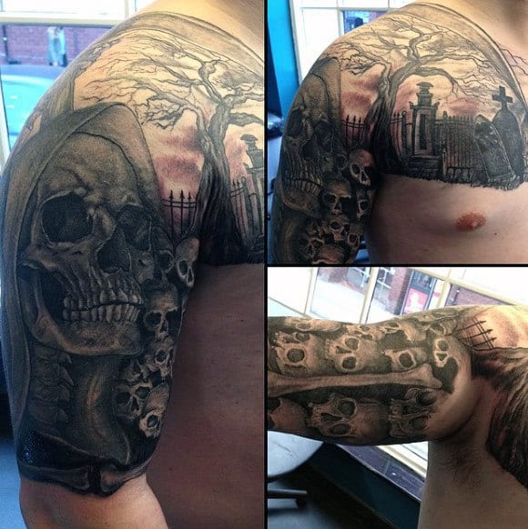 Shoulder And Arm Tattoos Of Graveyards For Men