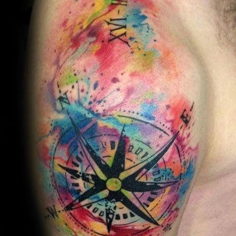Shoulder And Arm Watercolor Compass Tattoo Ideas For Men