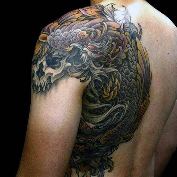 Shoulder And Back Male Phoenix Tattoos