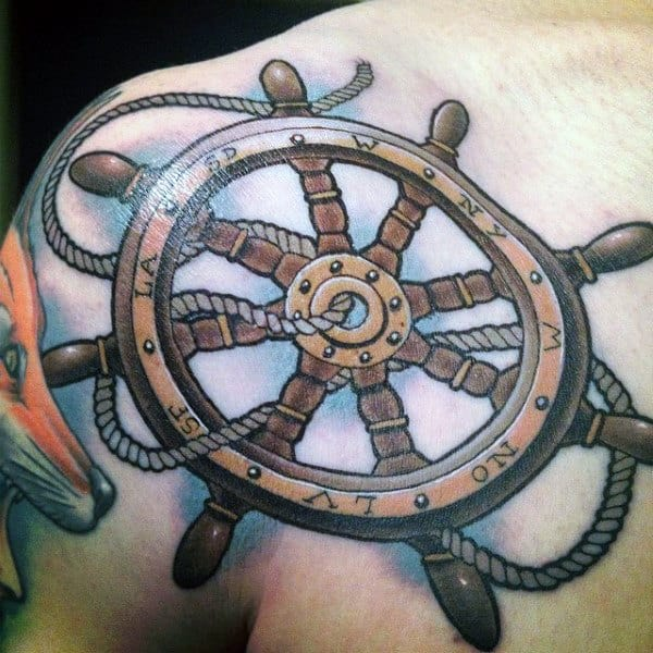 Shoulder And Chest Traditional Ship Wheel Tattoos For Men