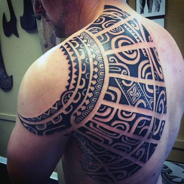 Shoulder And Half Back Guys Sick Tribal Tattoo Ideas