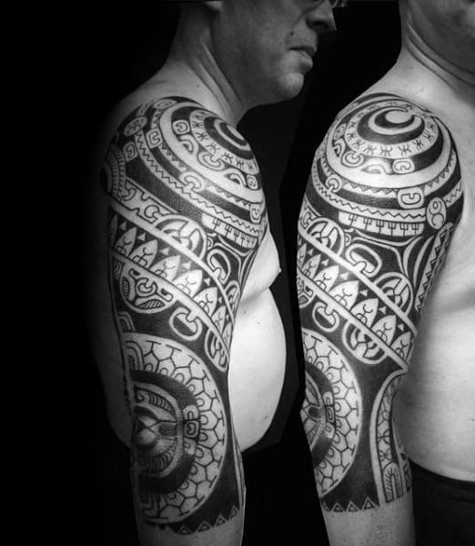 Shoulder And Tribal Half Sleeve Tattoo Mens Hawaiian Ink Ideas