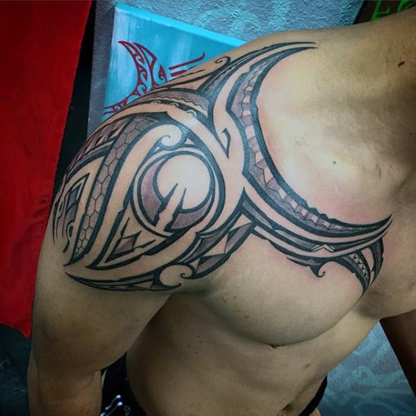 Shoulder And Upper Chest Guys Sick Negative Space Tribal Tattoos