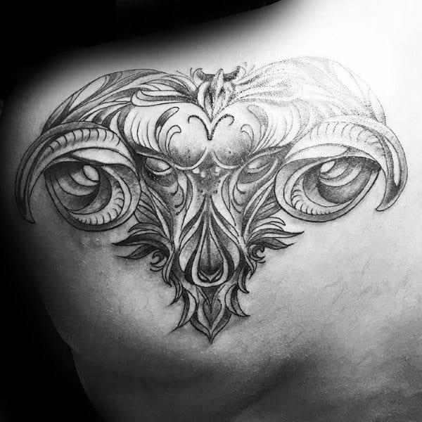 Shoulder Aries Tattoo On Gentleman
