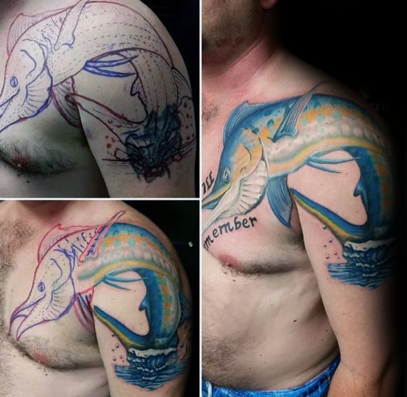 Shoulder Arm And Chest Marlin Tattoo Designs For Guys