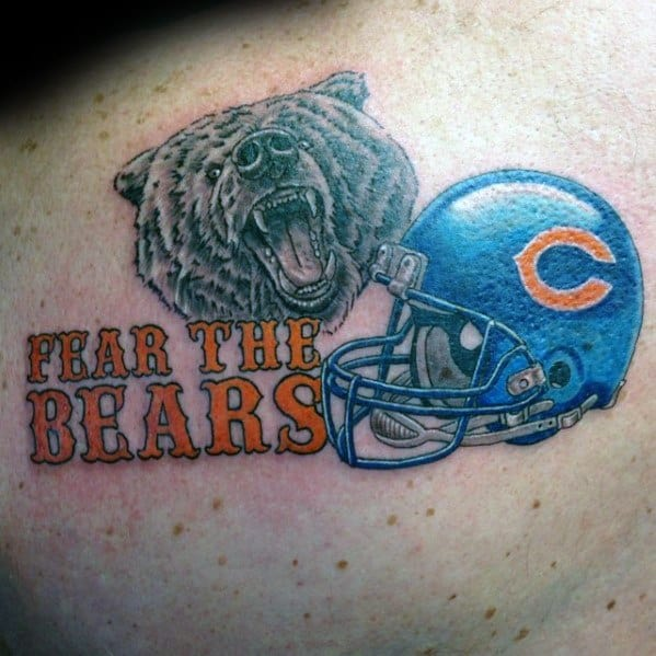 Shoulder Back Fear The Chicago Bears Tattoo Ideas On Guys