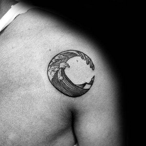 Shoulder Badass Small Ocean Wave Male Tattoo Designs