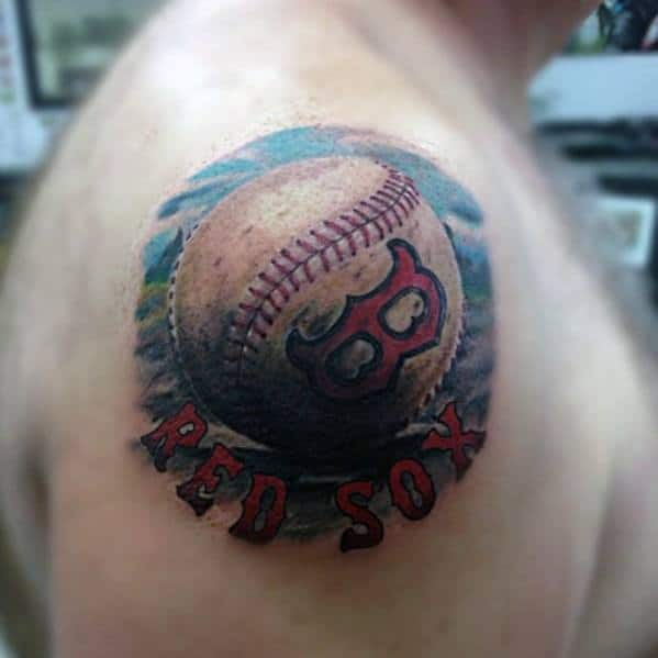Shoulder Baseball Boston Red Sox Tattoo Designs For Males