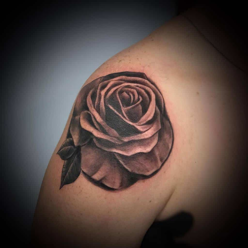 shoulder black and grey rose tattoos missdvj