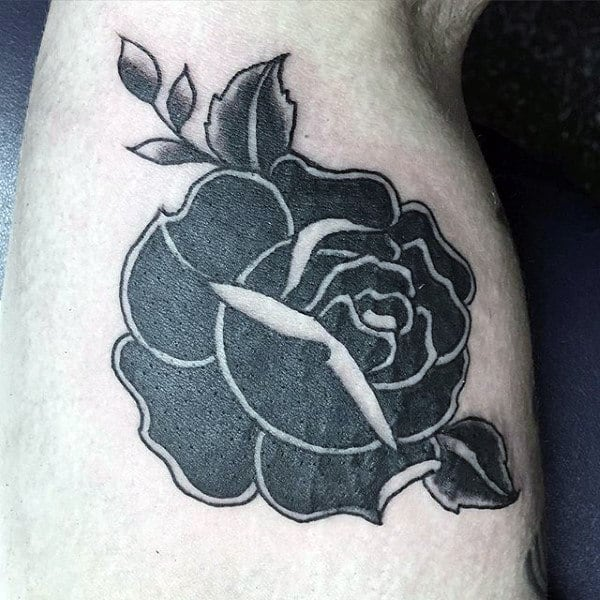 Shoulder Black Rose Mens Traditional Tattoos