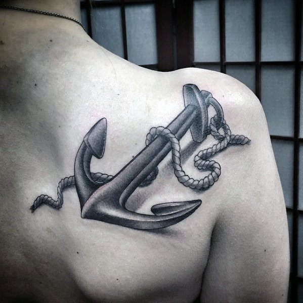 Shoulder Blade 3d Male Unique Anchor Tattoo Inspiration