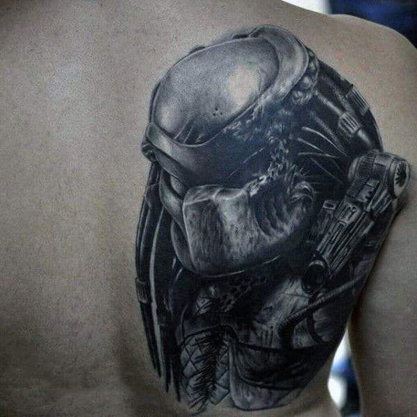 Shoulder Blade 3d Shaded Black And Grey Alien Vs Predator Tattoos For Men