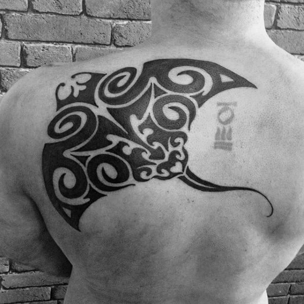 Shoulder Blade And Back Black Ink Tribal Masculine Manta Ray Tattoos For Men