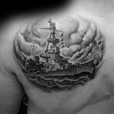Shoulder Blade Battleship Tattoos For Gentlemen