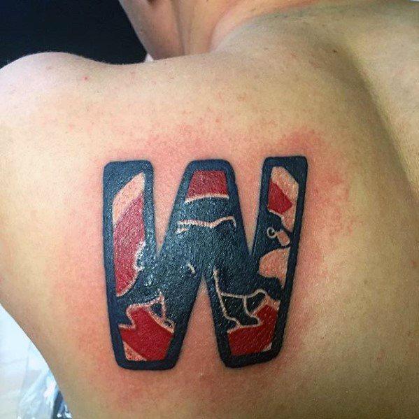Shoulder Blade Chicago Cubs Tattoos Men