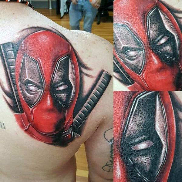 Shoulder Blade Deadpool Tattoo Design On Male