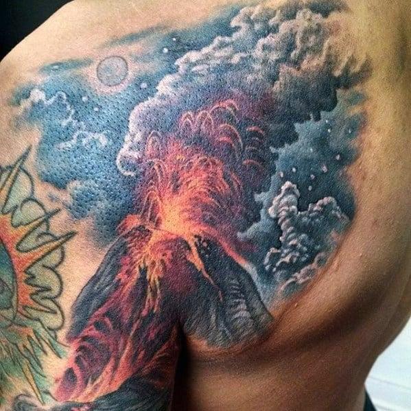 Shoulder Blade Erupting Volcano Tattoo Ideas On Guys