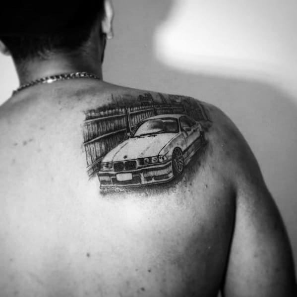 Shoulder Blade Good Bmw Tattoo Designs For Men