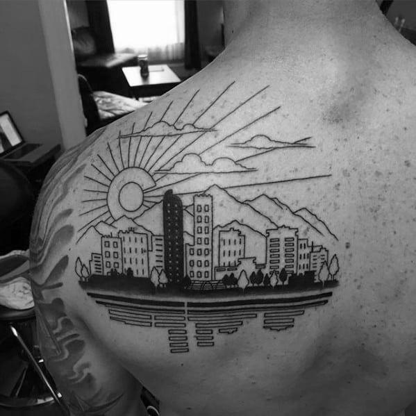 20 Denver Skyline Tattoo Designs For Men Colorado Ink Ideas