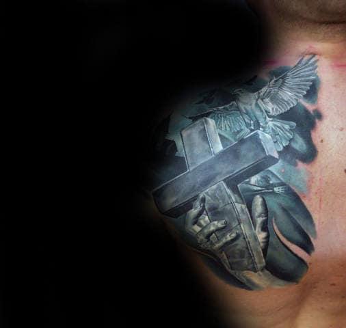 Shoulder Blade Hand Holding Cross Mens 3d Tattoos