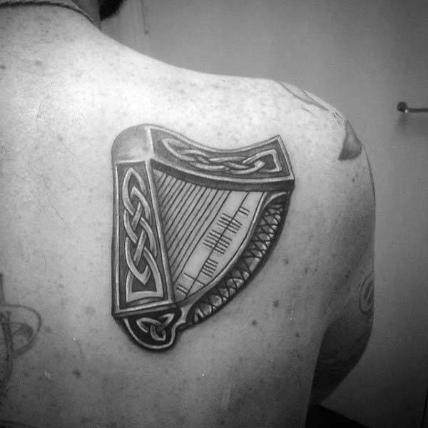 Shoulder Blade Harp Irish Guys Tattoo Designs