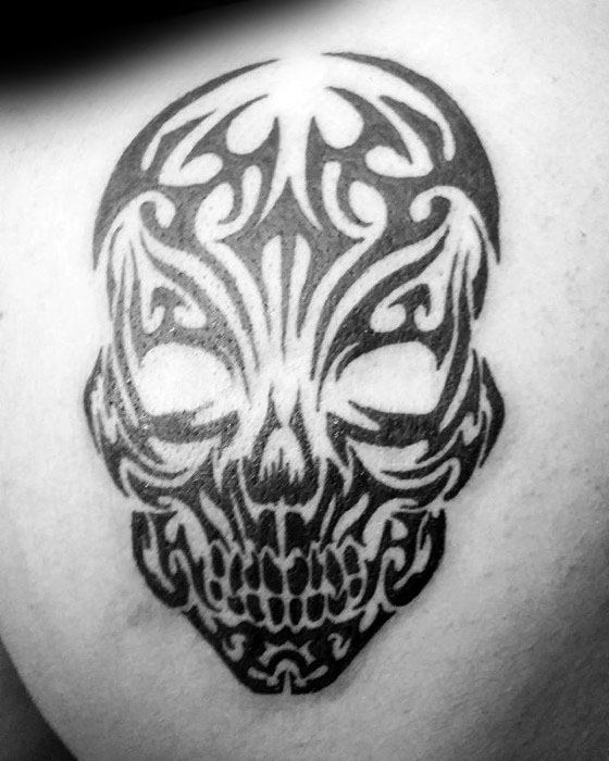 Shoulder Blade Male Cool Tribal Skull Tattoo Ideas