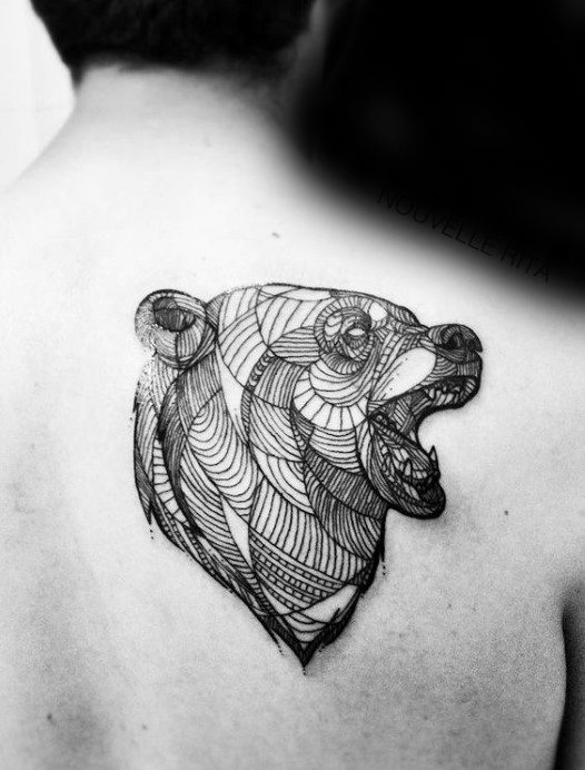 Shoulder Blade Male Geometric Bear Tattoo Ideas