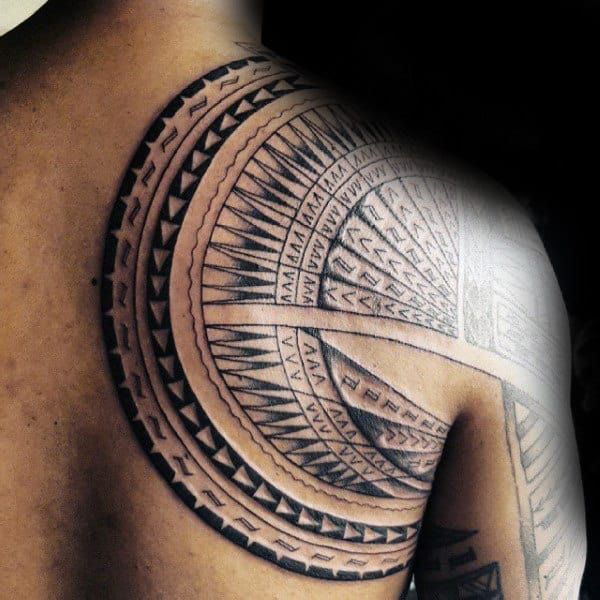 Shoulder Blade Male Samoan Tribal Tattoos