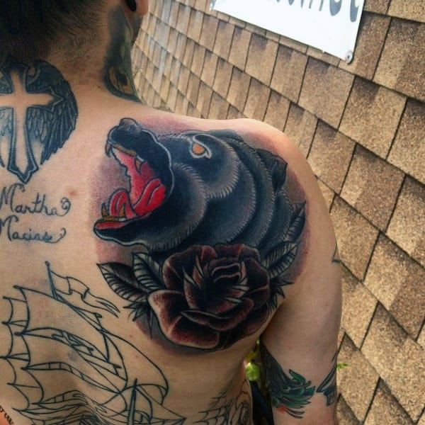 Shoulder Blade Male Traditional Bear With Rose Flower Tattoos