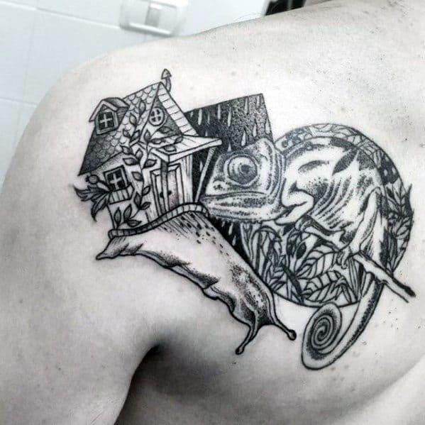 Shoulder Blade Snail Tattoos Men