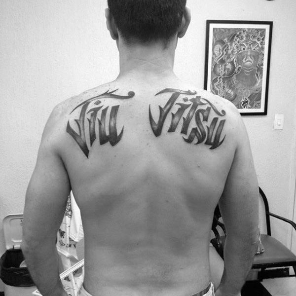 Shoulder Blades Jiu Jitsu Words Mens Back Tattoo